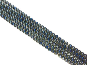 Glass Ab Blue Round Beads 6Mm