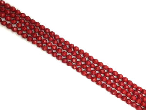 Bamboo Coral Red Faceted Rounds 6Mm