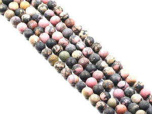 Matte Black Rhodanite Round Beads 8Mm