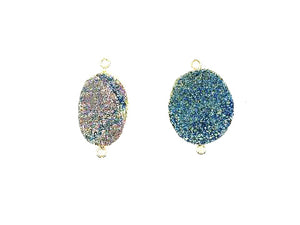 Color Crystal Quartz Druzy Pendant 22X35Mm