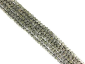 Lava Stone Ab Gray Round Beads 8Mm