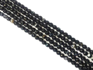 Black Sardonyx Faceted Rounds 6Mm