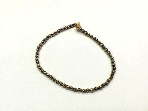 Hematite Light Gold Faceted Rounds Bracelet 3Mm