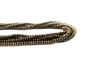 Coated Hematite A Bronze Faceted Roundel 2X4Mm