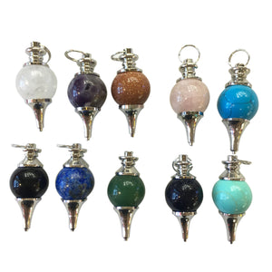 Assorted Stone Round Beads Pendant 18mm
