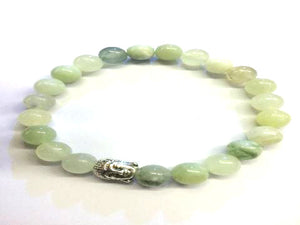 New Jade Silver Buddha Beaded Bracelet 8Mm