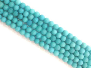 Matte Color Jade Blue Round Beads 6Mm