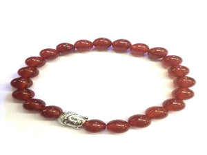 Red Agate Silver Buddha Beaded Bracelet 8Mm