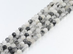 Black Tourmalated Quartz Faceted Rounds 12Mm