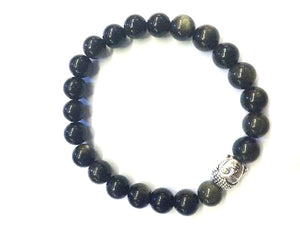 Golden Obsidian Silver Buddha Beaded Bracelet 8Mm