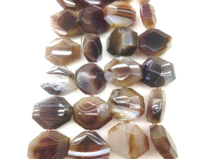 Color Agate Brown Faceted Free Form 20X30-30X45Mm
