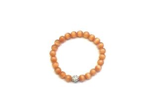Artificial Opal Light Orange Metal Guajian Bracelet 8Mm