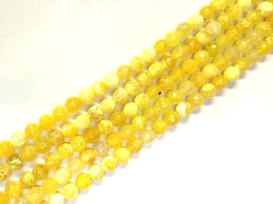 Color Yellow Fire Agate Faceted Rounds 8Mm
