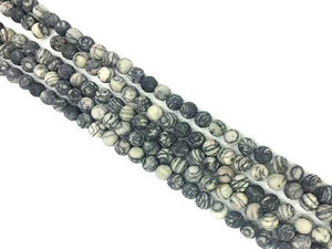 Matte Black Lace Picasso Jasper Round Beads 6Mm