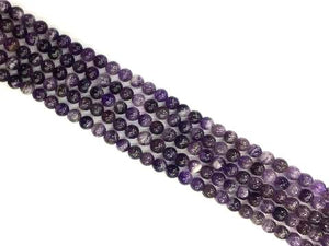 Dog Teeth Amethyst Round Beads 8Mm
