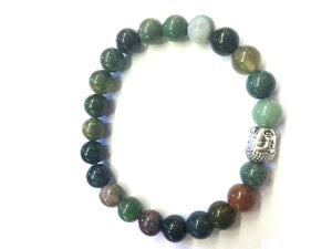 Fancy Jasper Silver Buddha Beaded Bracelet 8Mm