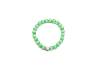 Artificial Opal Jade Green Metal Guajian Bracelet 8Mm