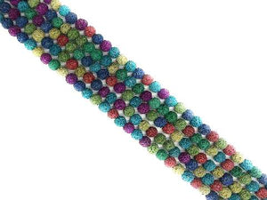 Lava Stone Ab Rainbow Round Beads 8Mm