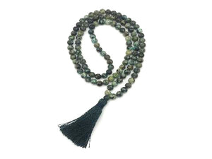 African Turquoise Tassel Necklace 108Pcs 6Mm