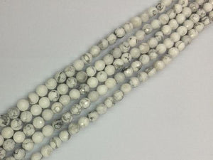 Howlite White Faceted Rounds 6Mm