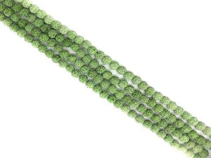 Lava Stone Ab Apple Green Round Beads 8Mm