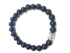 Blue Gold Stone Silver Buddha Beaded Bracelet 8Mm