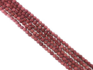 Lava Stone Ab Red Round Beads 6Mm
