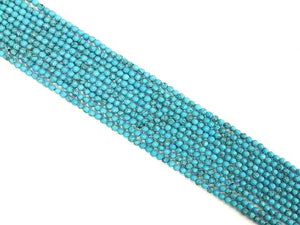 Blue Magnesite Faceted Round Beads 4Mm