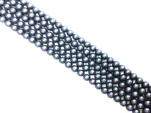 Matte Shell Pearl Navy Blue Faceted Rounds 10Mm