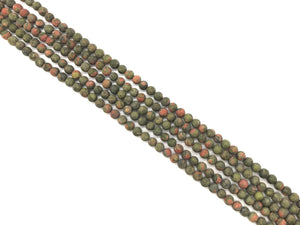 Matte Unakite Round Beads 4Mm