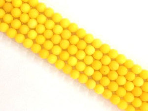 Matte Color Jade Yellow Round Beads 8Mm