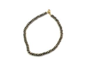 Hematite Light Gold Faceted Roundel Bracelet 2X3Mm