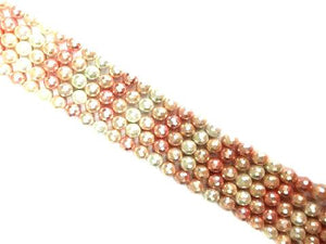 Matte Shell Pearl Pink Beige White Faceted Rounds 10Mm