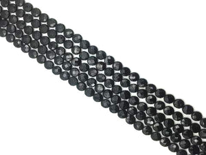 Black Onyx Faceted Puff Coin 14Mm