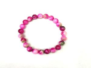 Color Agate Rose Bracelet 6Mm