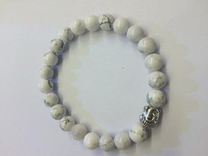 Howlite White Silver Buddha Beaded Bracelet 8Mm