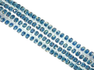 Glass Ab Blue Faceted Roundel 5X8Mm