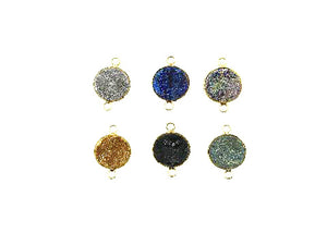 Color Crystal Quartz Druzy Pendant 16Mm
