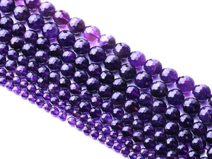 Amethyst G4 Dark Faceted Rounds 8Mm