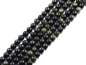 Golden Obsidian Faceted Rounds 8Mm