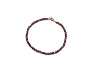 Garnet Faceted Rounds Bracelet 3Mm