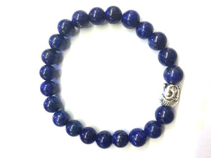 Lapis Silver Buddha Beaded Bracelet 8Mm