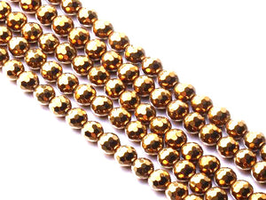Hematite Gold Faceted Rounds 14Mm
