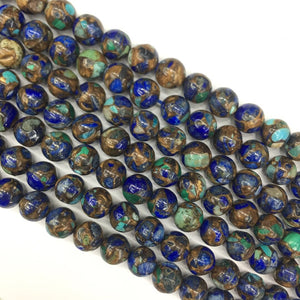 Azurite Composited round beads 12mm