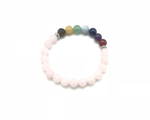 Matte Rose Quartz 7 Chakras Bracelet 8mm