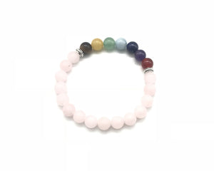 Matte Rose Quartz 7 Chakras Bracelet 6mm