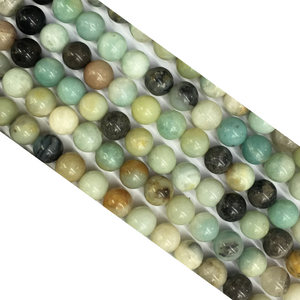 Black Cloudy Amazonite Round Beads 8Mm