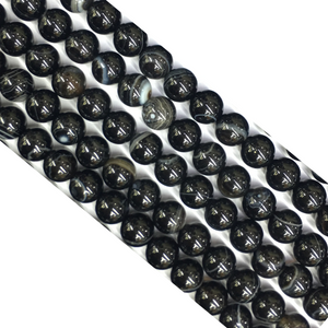 Black Sardonyx Round Beads 14Mm