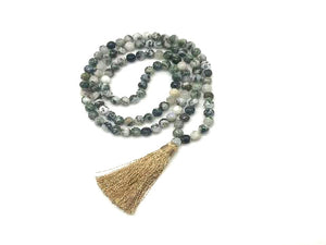 Tree Agate Tassel Necklace 108Pcs 8Mm
