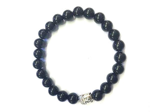 Black Onyx Silver Buddha Beaded Bracelet 8Mm